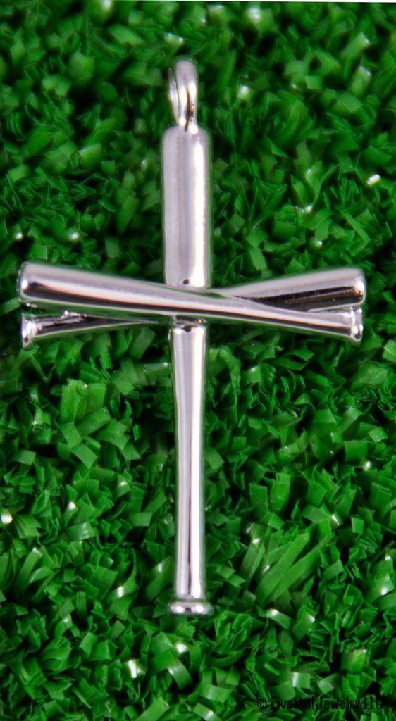 Baseball Bat Cross Sterling Silver Pendant Only Baseball Necklace Baseball Jewelry Baseball