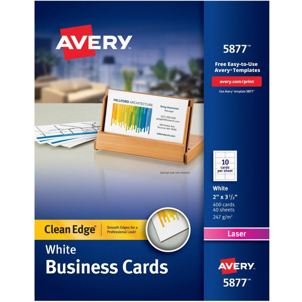 Avery Business Cards 2 X 3 1 2 Inches Laser Printable White Pk Of 400 Avery Business Cards Free Business Card Templates Printable Business Cards
