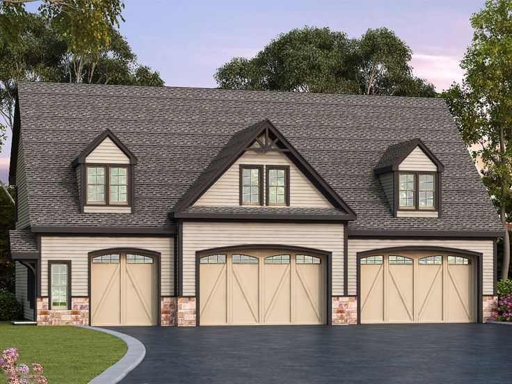 Carriage house with apartment office 5 spaces we 39 re for House plans with 4 car attached garage