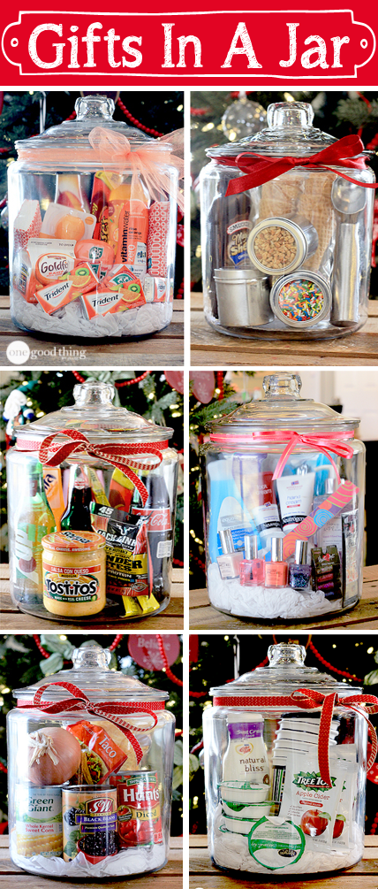 Gifts in a jar simple inexpensive and fun for Homemade christmas gift baskets for couples