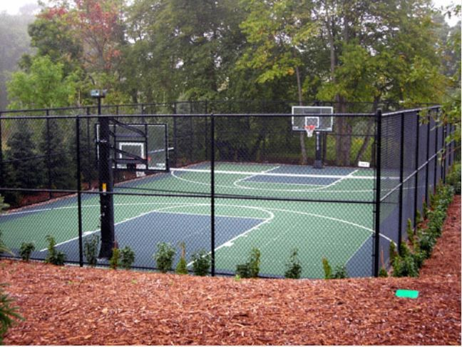 Versacourt S Patented 6 Point Locking Mechanism And Swiss Designed And Manufactured 16 Injec Basketball Court Backyard Outdoor Basketball Court Backyard Sports