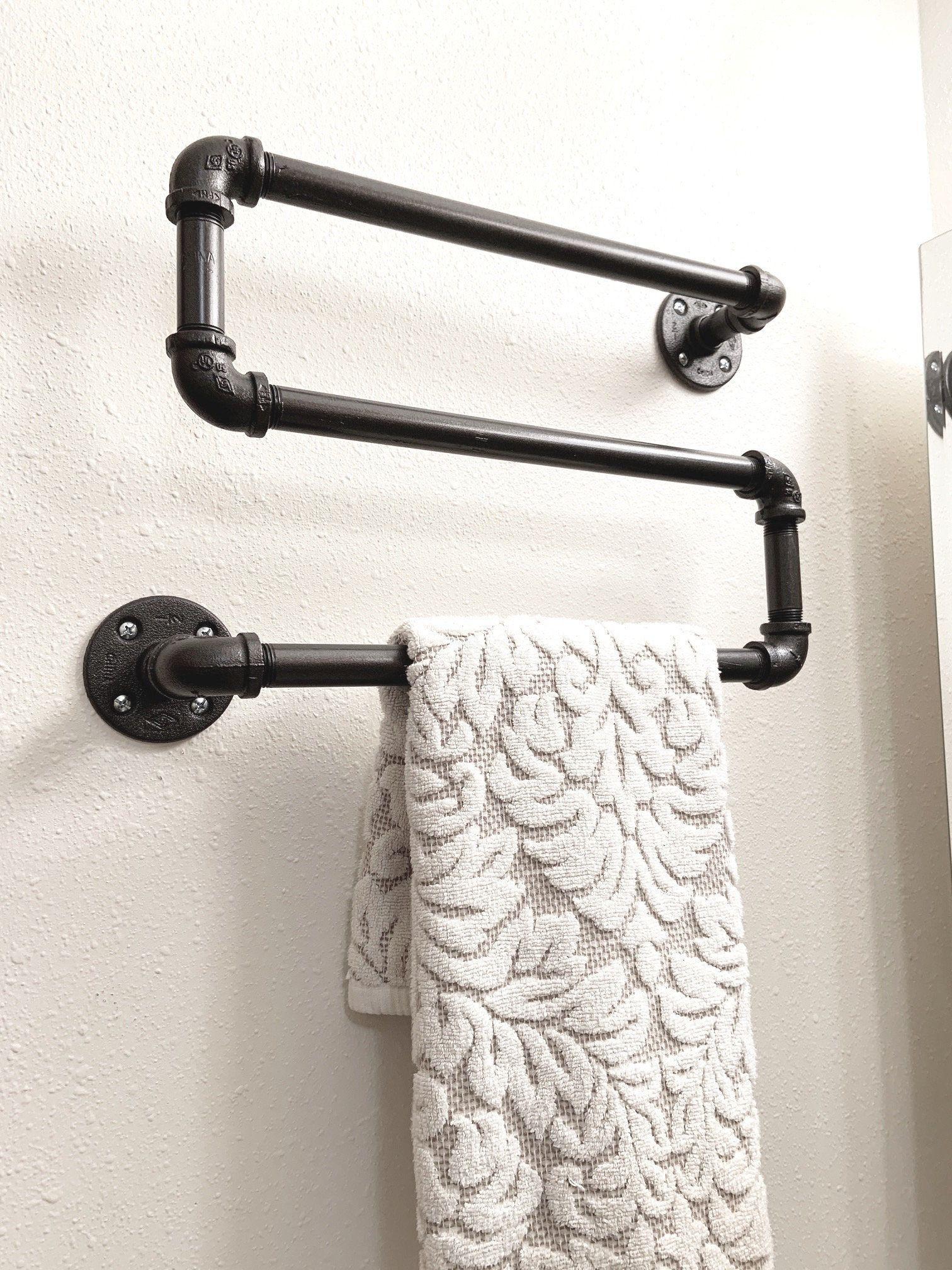 Rustic Farnhouse bathroom hook Industrial coat rack or towel rack bathroom decor plumbing pipe repurposed industrial decor