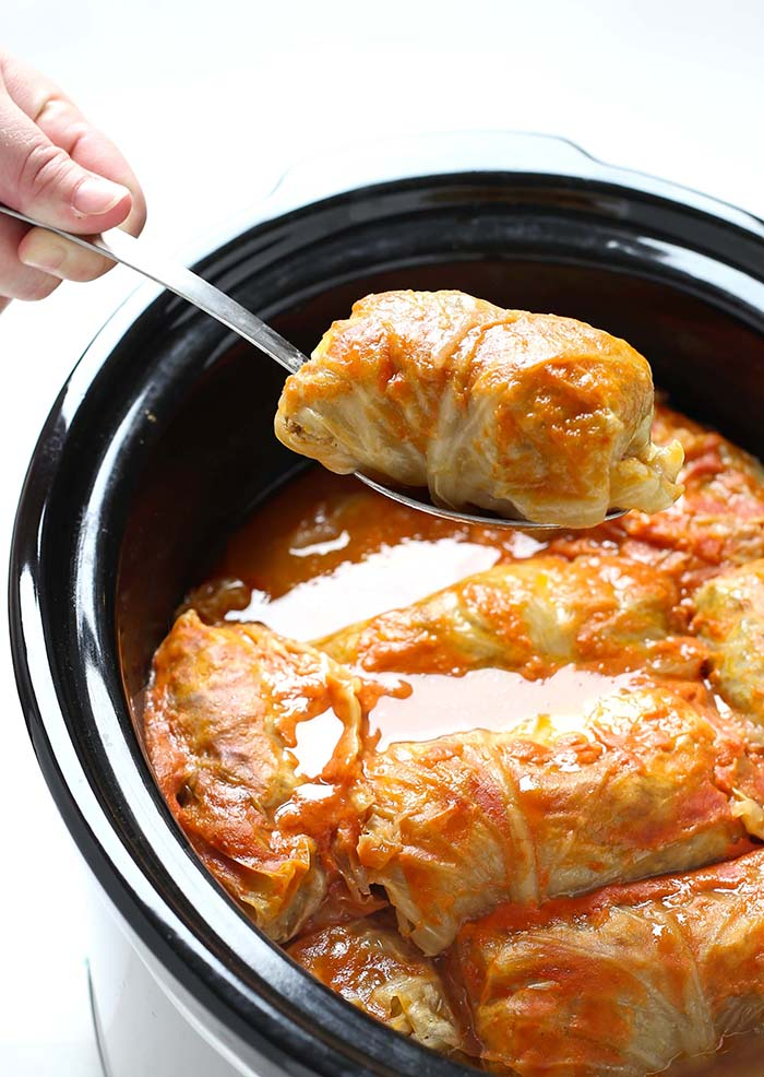 Crock Pot Stuffed Cabbage Rolls - Sugar Apron