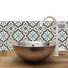 Trianon Bleu Adhésif Imperméabilisé Façon Carreaux De Ciment - Adhesif carrelage cuisine pour idees de deco de cuisine