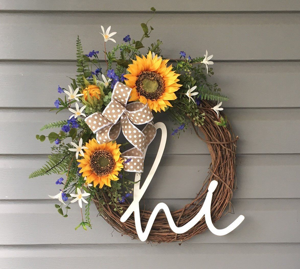 Photo of Summer Wreath for Front Door, Sunflower Hi Wreath, Farmhouse Wreath, Country Wreath, Rustic Wreath, Gift for Her, Modern Wreath