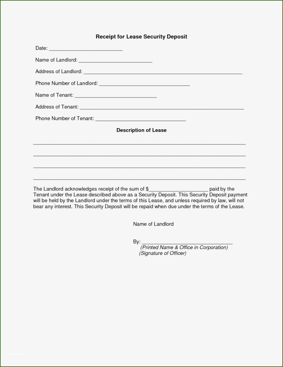 Awesome Security Deposit Receipt Template Of 2020 Receipt Template Free Receipt Template Survey Template