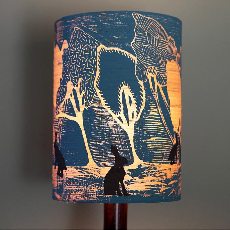 Handmade designer lampshade blue night brown hares pretty handmade designer lampshade blue night brown hares pretty dandy night table lampsdesigner aloadofball Image collections