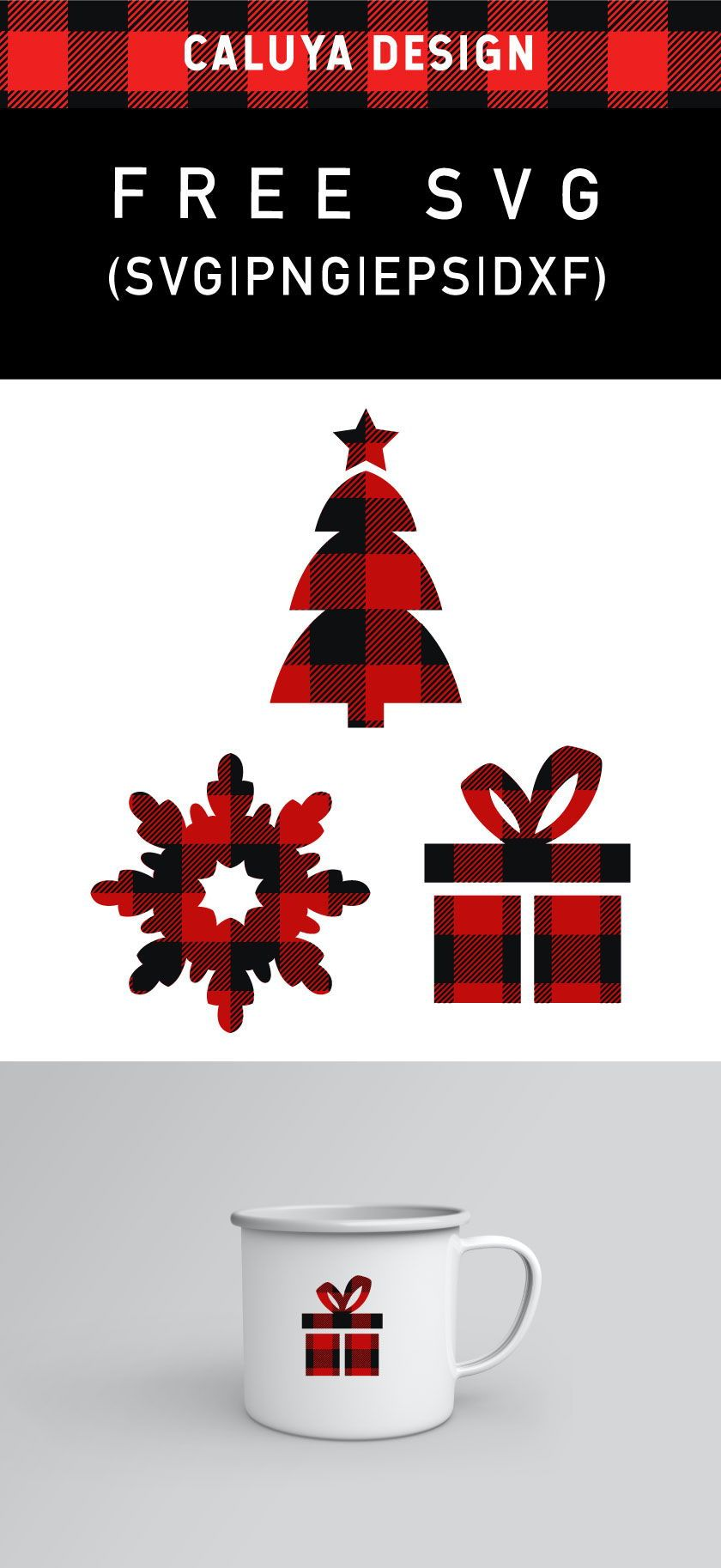 Free Plaid Christmas Elements SVG, PNG, EPS & DXF by Caluya Design. #cricutcrafts