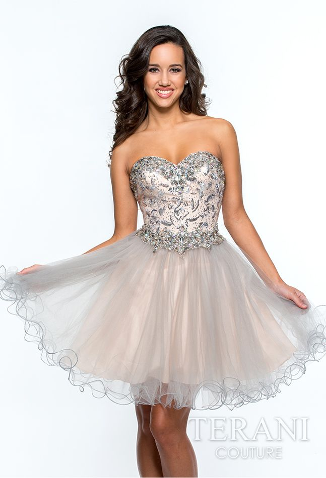 125ddcafc1 Tulle strapless mini dress with sweetheart neckline featuring crystal  embellishments that continue to the waist