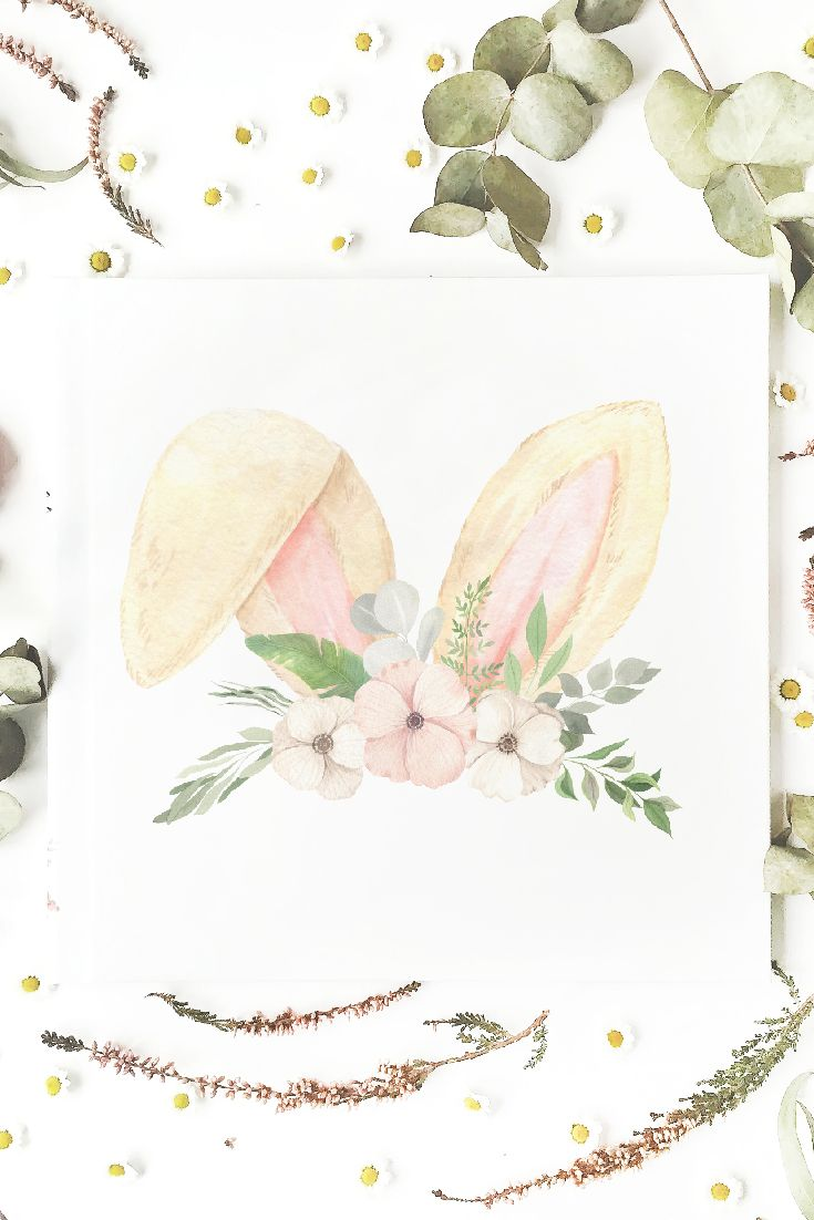 Watercolor Easter Bunny ears Clipart. Hand painted spring | Etsy