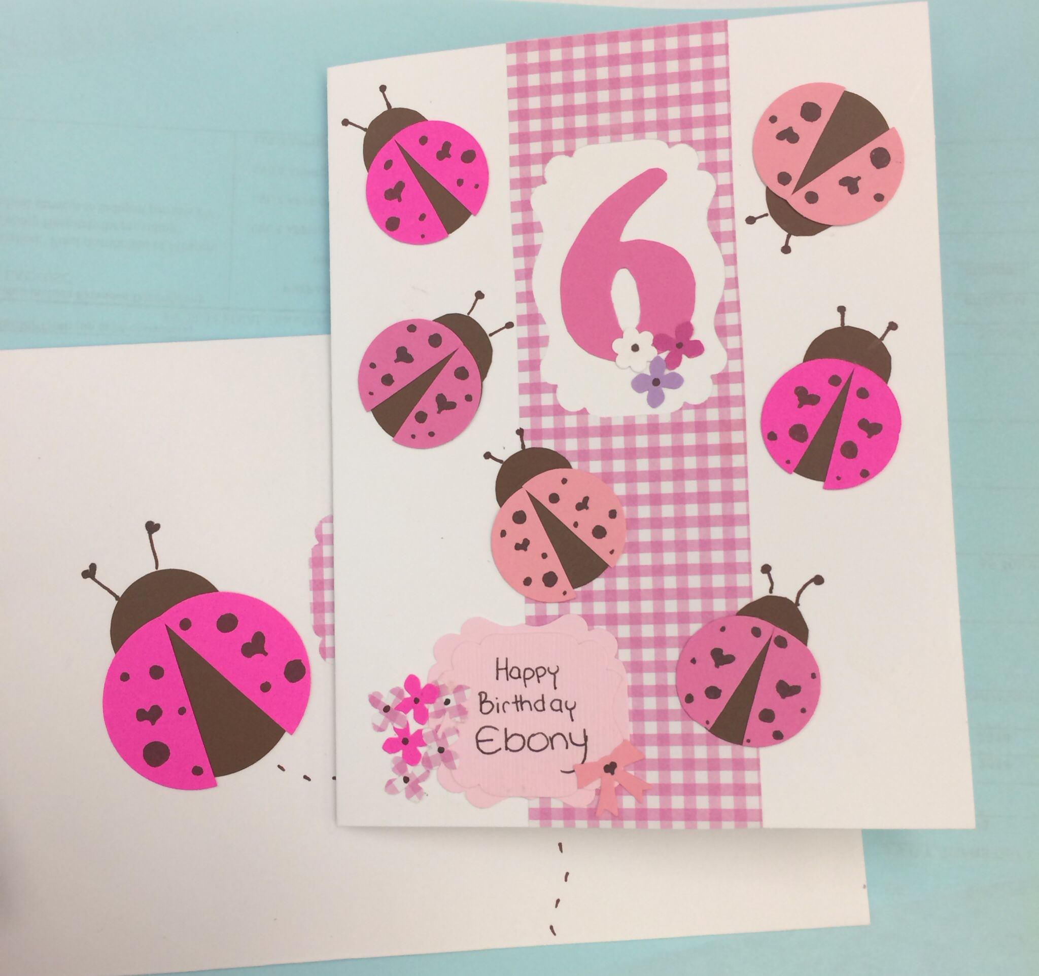 6 Years Old Bithday Card For A Girl Cute Ladybugs Pink And Brown