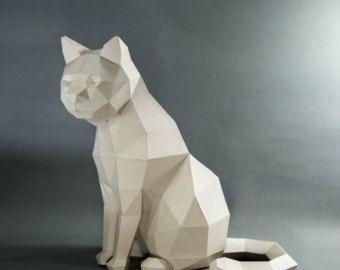 Cat Head  Cat Low poly Cat wall decor pet  Cat Kit