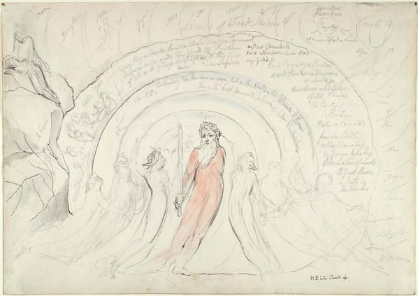 Dante's Divine Comedy - Homer Bearing the Sword and His Companions (1824-1827) by William Blake