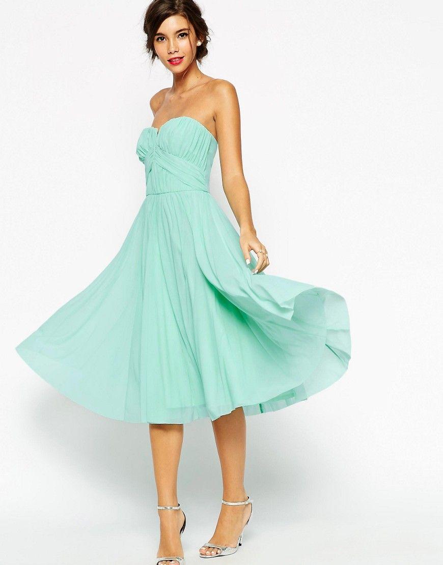 Green dress for wedding  ASOSWEDDINGRuchedBodiceBandeauMidiDress  Wedding  Pinterest