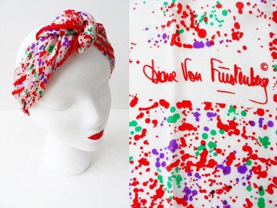 Vintage Turban Diane von Furstenberg Scarf 80s 90s DVF Red Silk ...