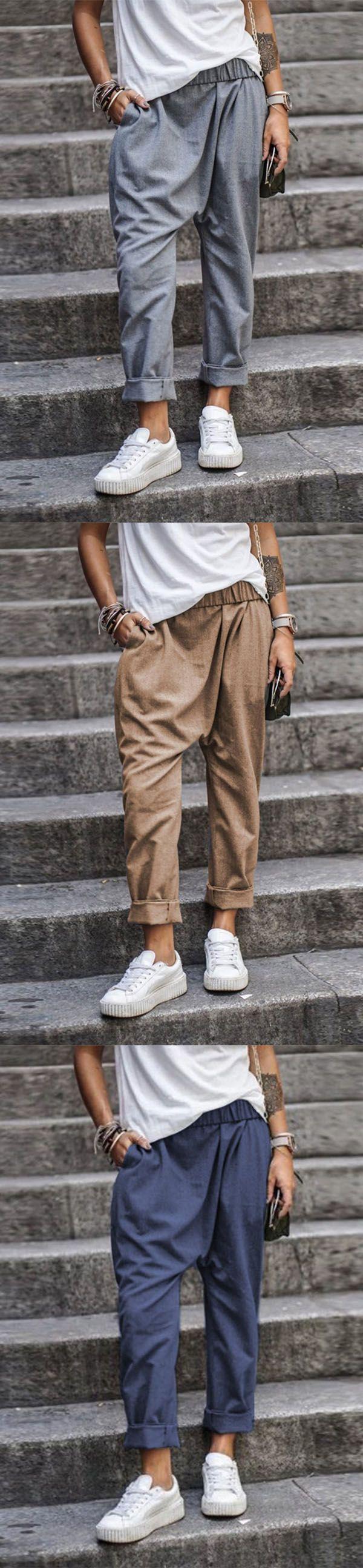 Photo of Big Sale!Solid Color Casual Pocket Elastic Waist Harem Pants