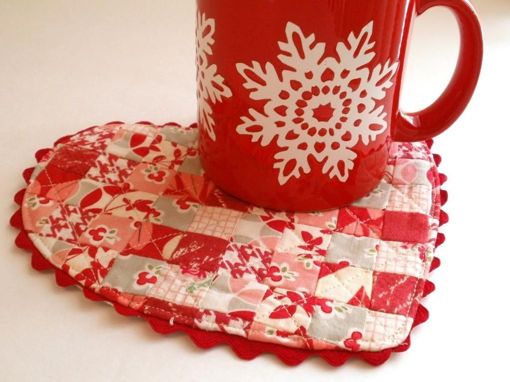 Be My Valentine Heart Mug Rug Pattern Mug Rug Patterns