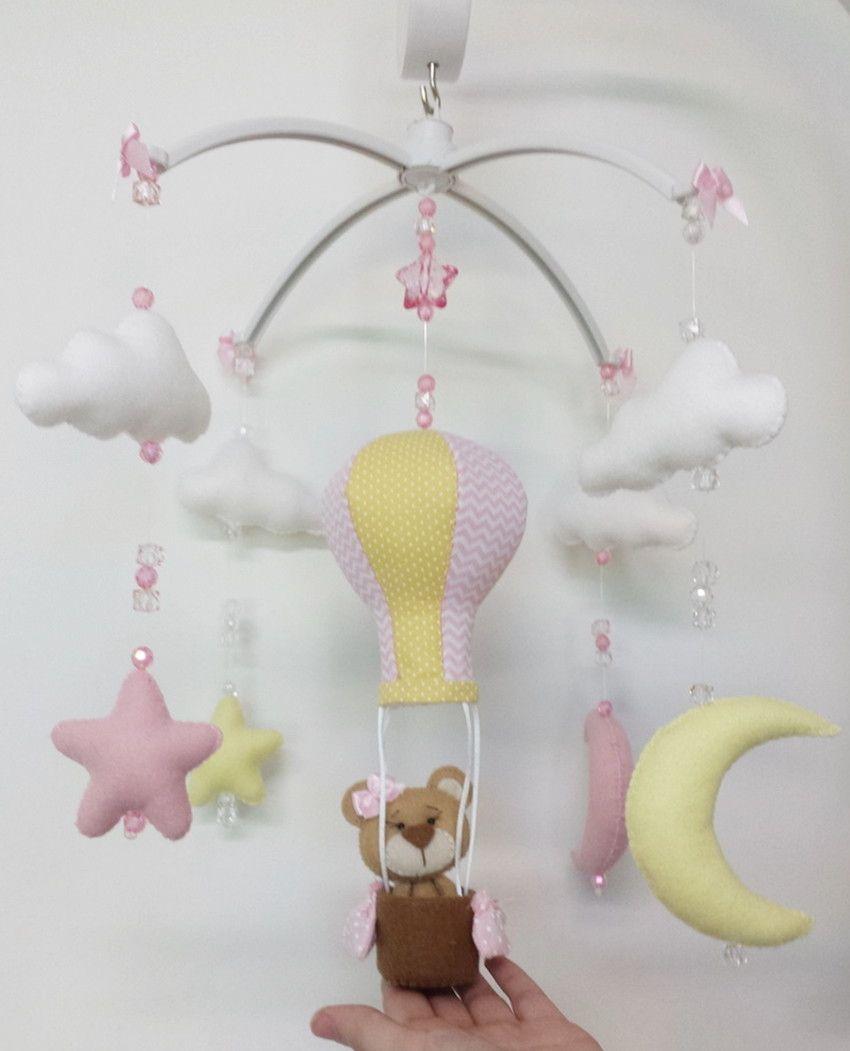 181826cbd Móbile Musical Giratório no tema Balão com ursinha no cesto
