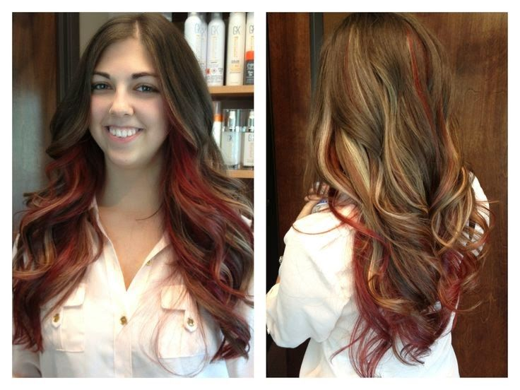 Peekaboo Hair Styles: 4 Styles For Brown Hair With Blonde And Red Highlights
