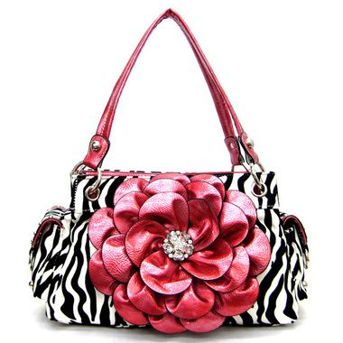 Flower Zebra handbags Rhinestone purses Animal print Pink Fuchsia ...