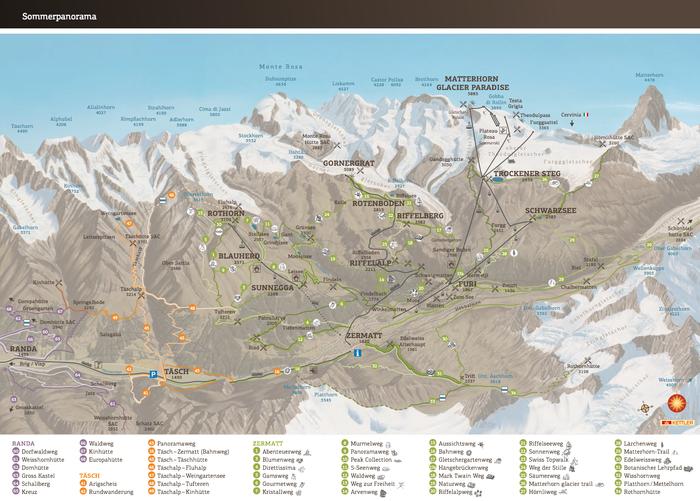 Summer Panorama Map Of Zermatt Switzerland: Randa Switzerland Map At Slyspyder.com