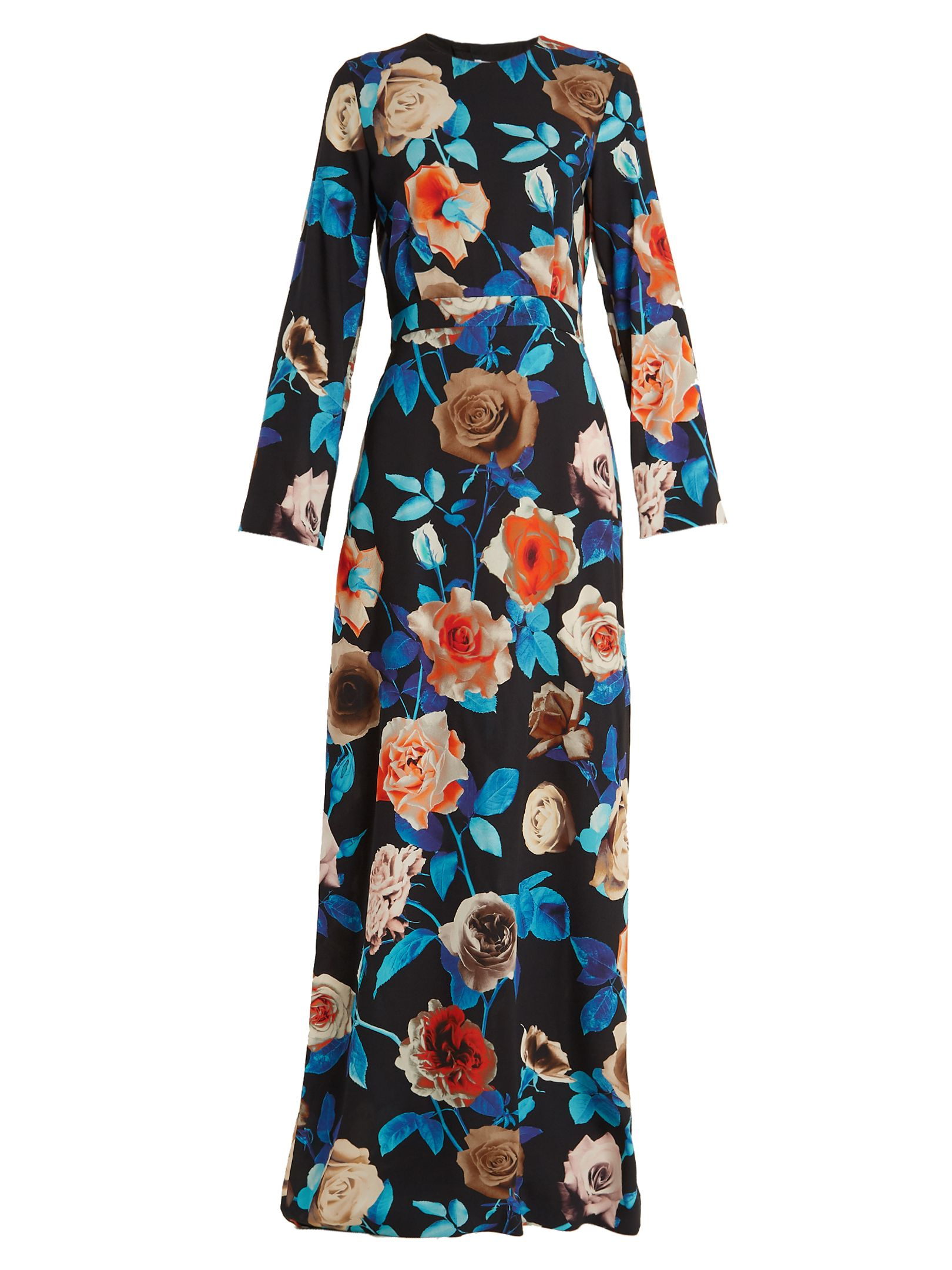 Msgm floralprint roundneck crepe dress msgm cloth msgm