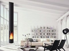 Wood-burning central hanging fireplace
