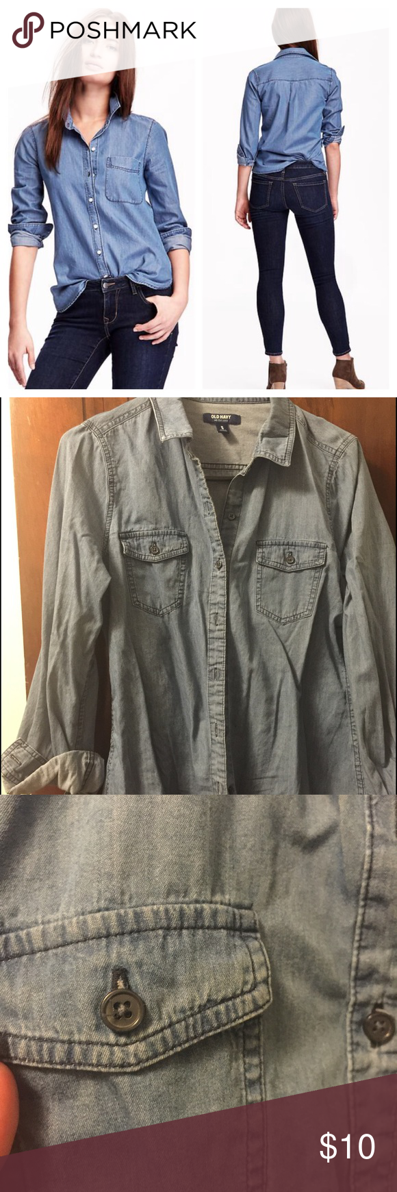 Old Navy Chambray shirt Blue jean.  Wore 3-4 times. Old Navy Tops Button Down Shirts