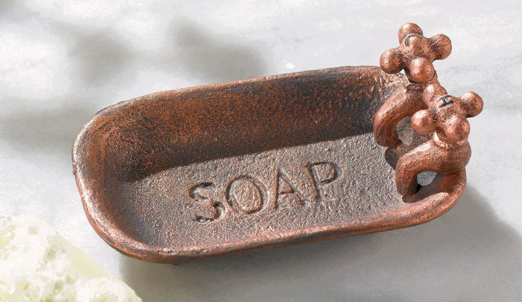 Shabby Metal Tub Hand Soap Dish With A Vintage Retro Look
