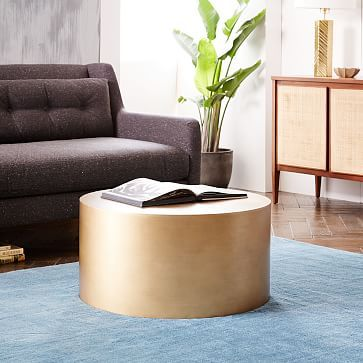 West Elm Metal Drum Coffee Table - probably need a round table for ...