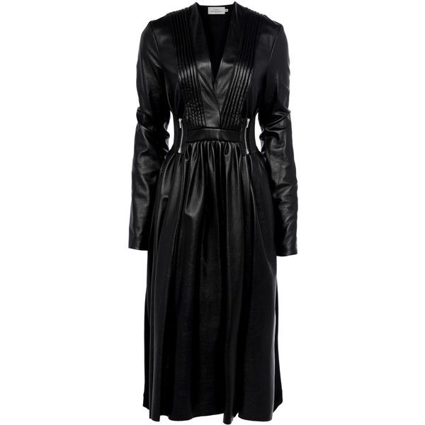 AW16 ODETTE DRESS (3.315 RON) ❤ liked on Polyvore featuring dresses, v neck leather dress, v-neck dresses, leather pleated dress, rock n roll dresses and rock and roll dresses