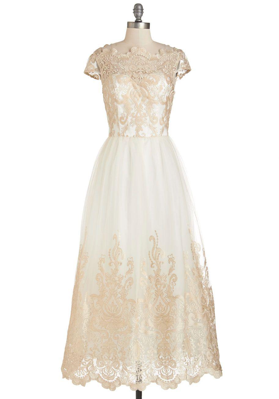 VTG White Gold Embroidered dress