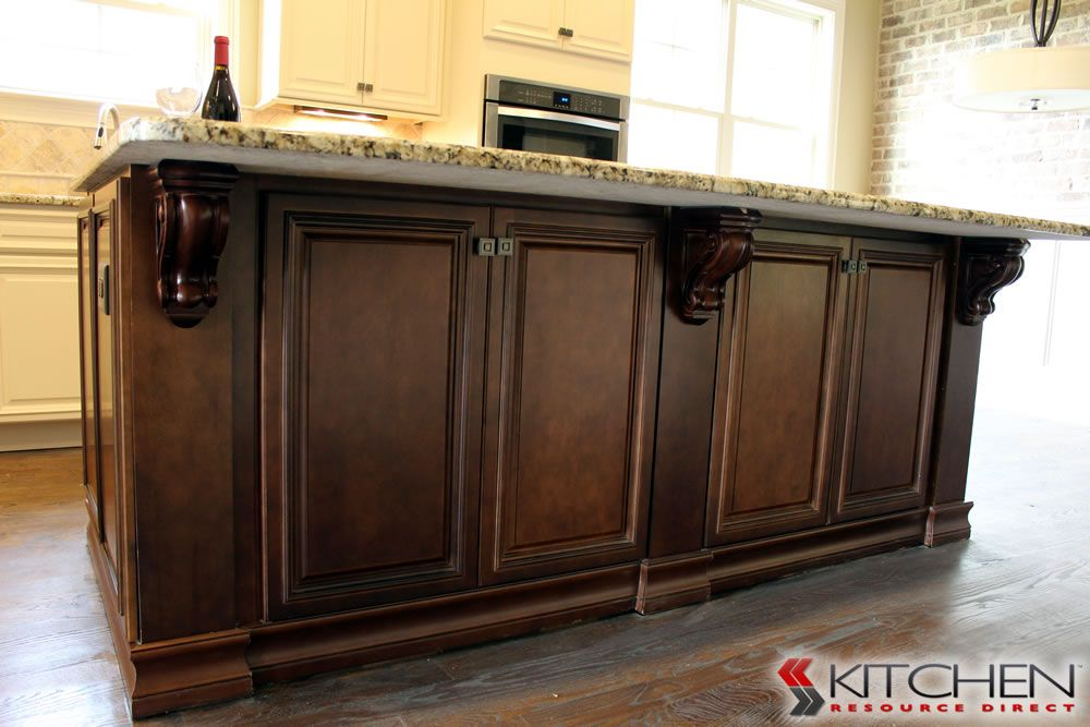 Storage On Both Sides Of The Kitchen Island; Cabinets Shown Are Titusville  RTA Freeport Maple