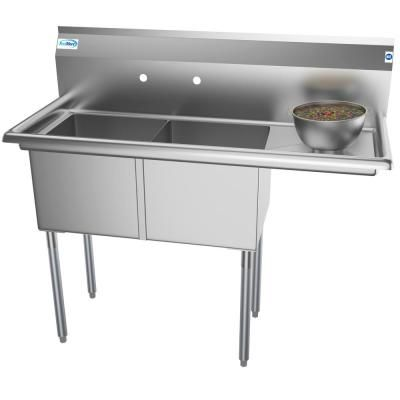 Koolmore Freestanding Stainless Steel 48 In 2 Hole Double Bowl