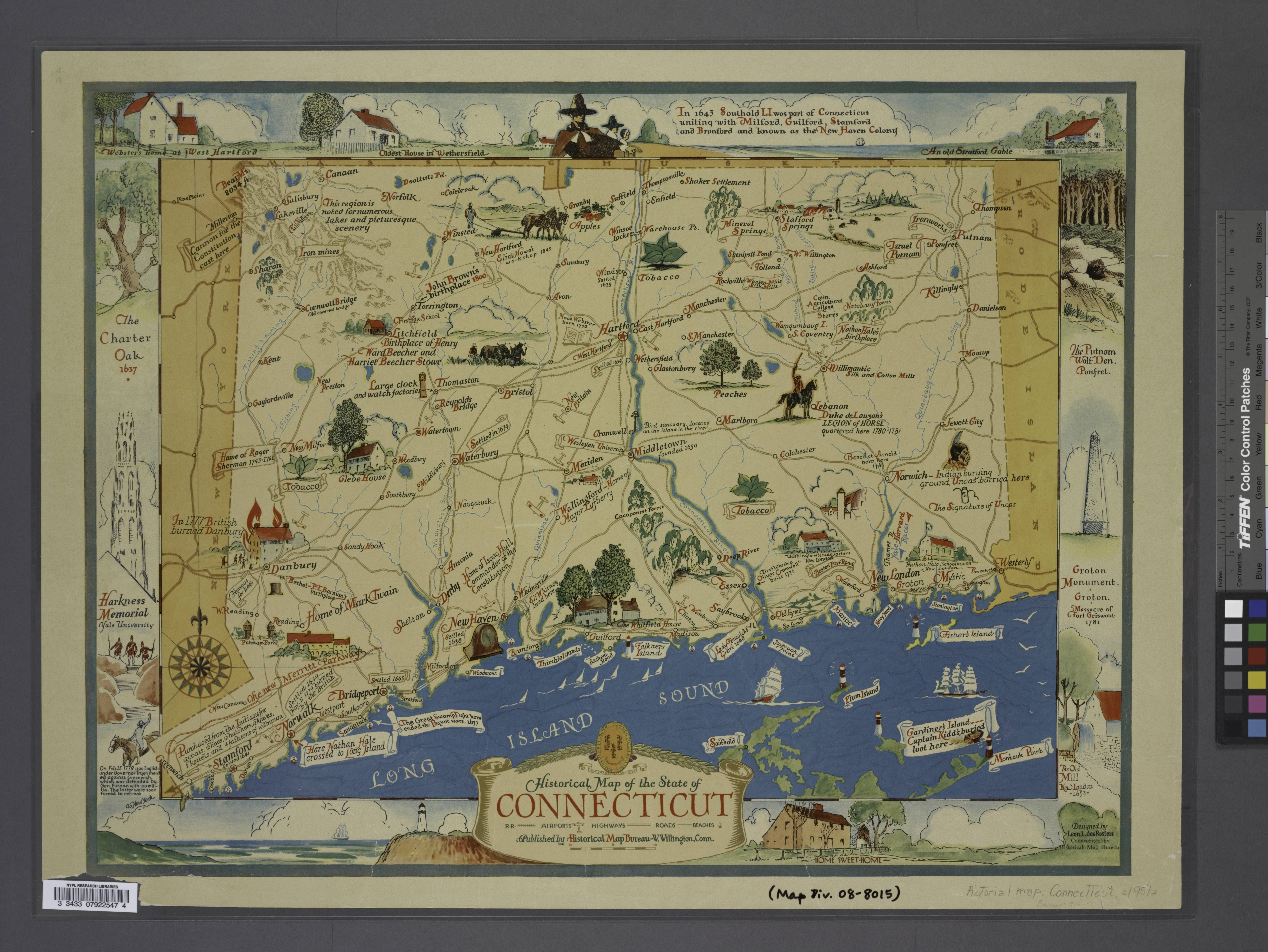 Historical map of the state of Connecticut