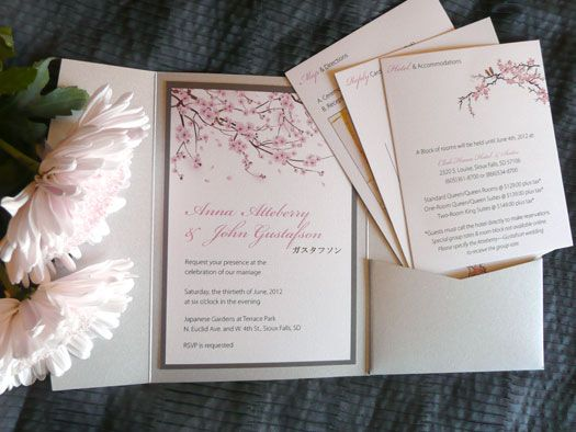 Marvelous Japanese Cherry Blossom Wedding Invitation Pockets! By Copper Ink Wedding  Design