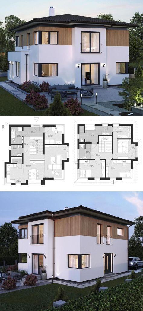 Stadtvilla im Landhaus-Stil mit Walmdach Architektur, Erker Anbau & Holz Fassade - Einfamilienhaus bauen Ideen Grundriss Fertighaus ELK Haus 161 - HausbauDirekt.de #arquitectonico
