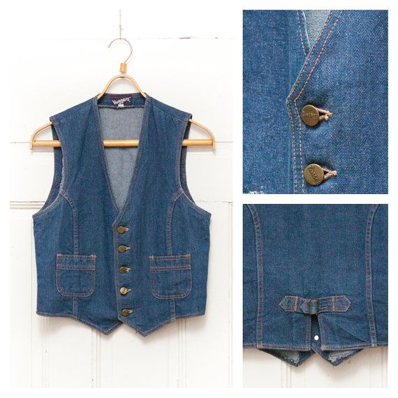 wholesale dealer baa07 ba6e5 Vintage 80 s 90 s kleine blaue Jean Weste Damen von ...