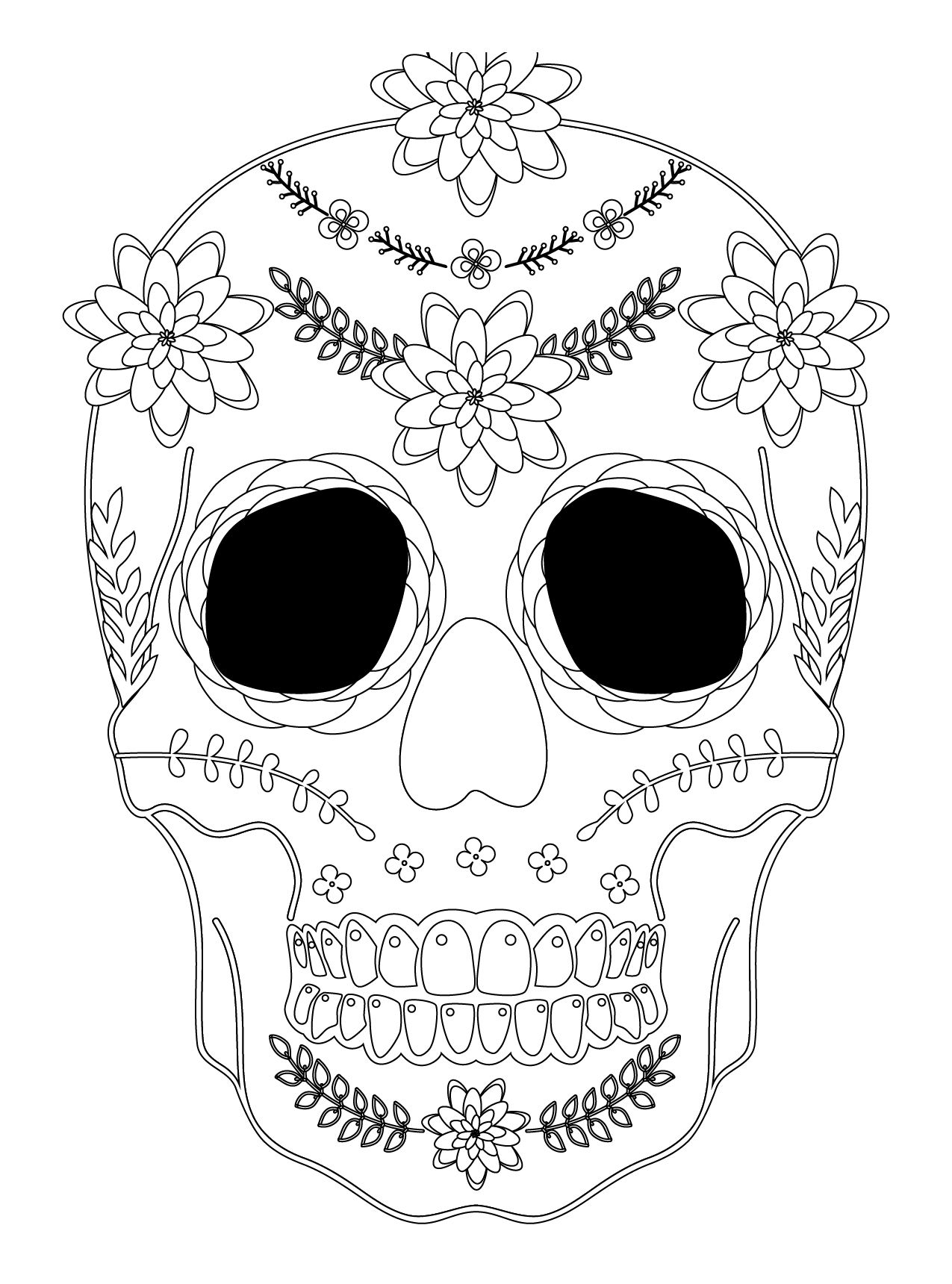 Sugar skull coloriage halloween a imprimer qui fait peur sugar skulls day of the dead - Dessins halloween a imprimer ...