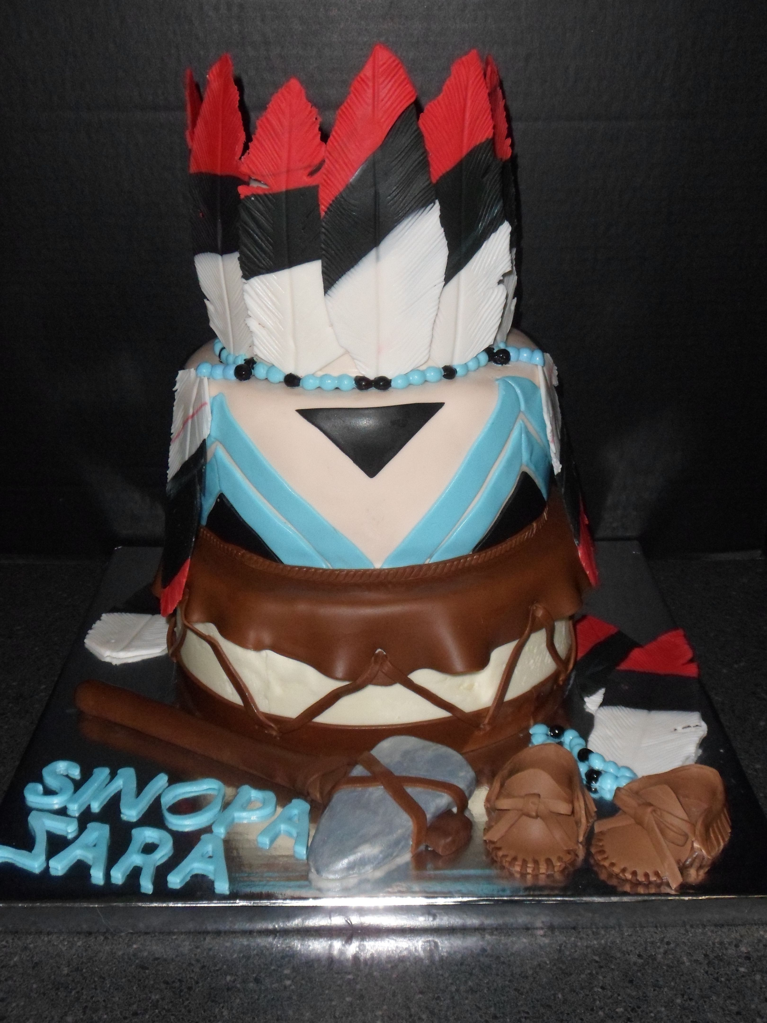 Native american themed cake edible shellscakes native