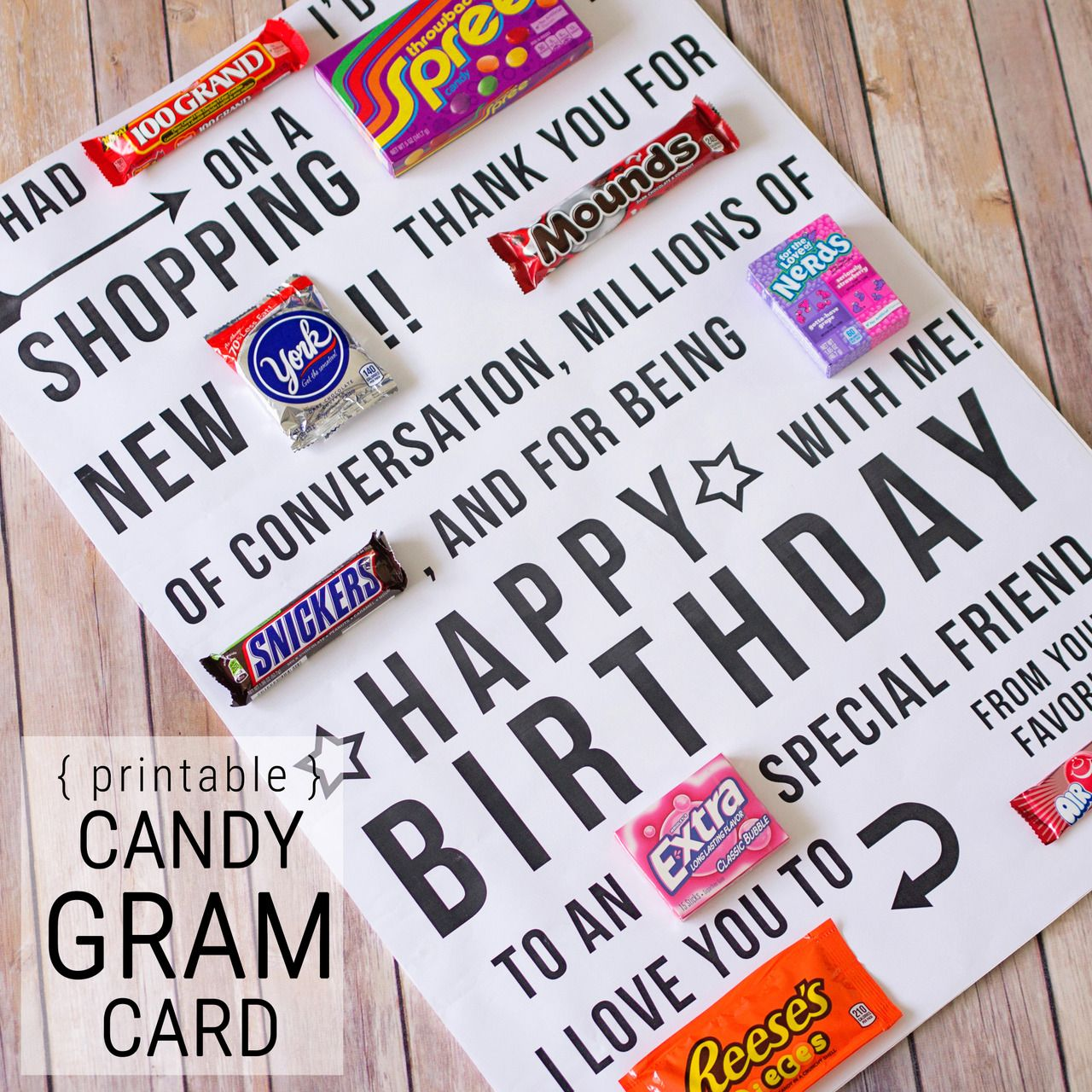 A giant birthday card candy gram! Pinned it   Did it   LOVED it