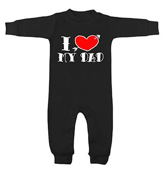 I <3 My Dad Tattoo Black Long Sleeve Romper by My Baby Rocks - Baby and toddler clothes and gifts