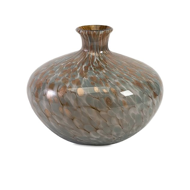 Teneyck Mystic Glass Jug - Into the mystic: Metallics are heated with molten glass to produce a magically abstract pattern with a flash of gold in this glass jug.