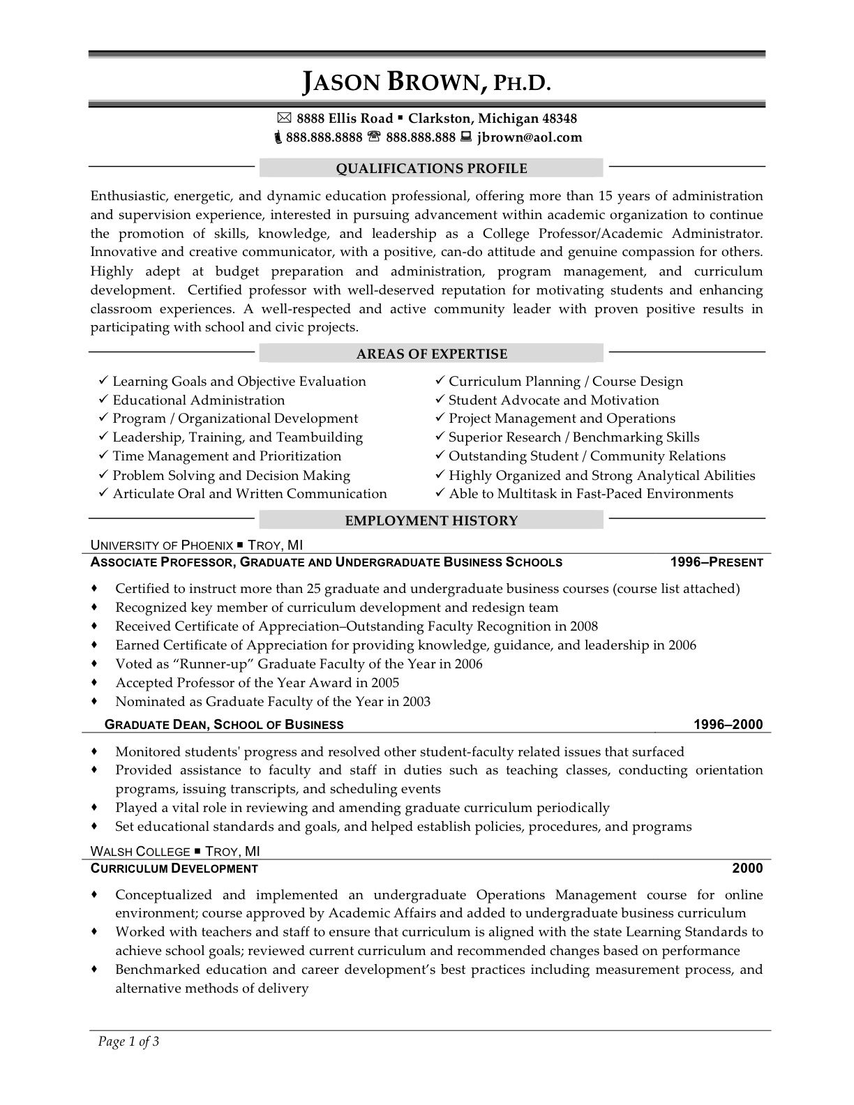 Sample resume for professor job careerperfect academic skill cover template yelopaper Image collections