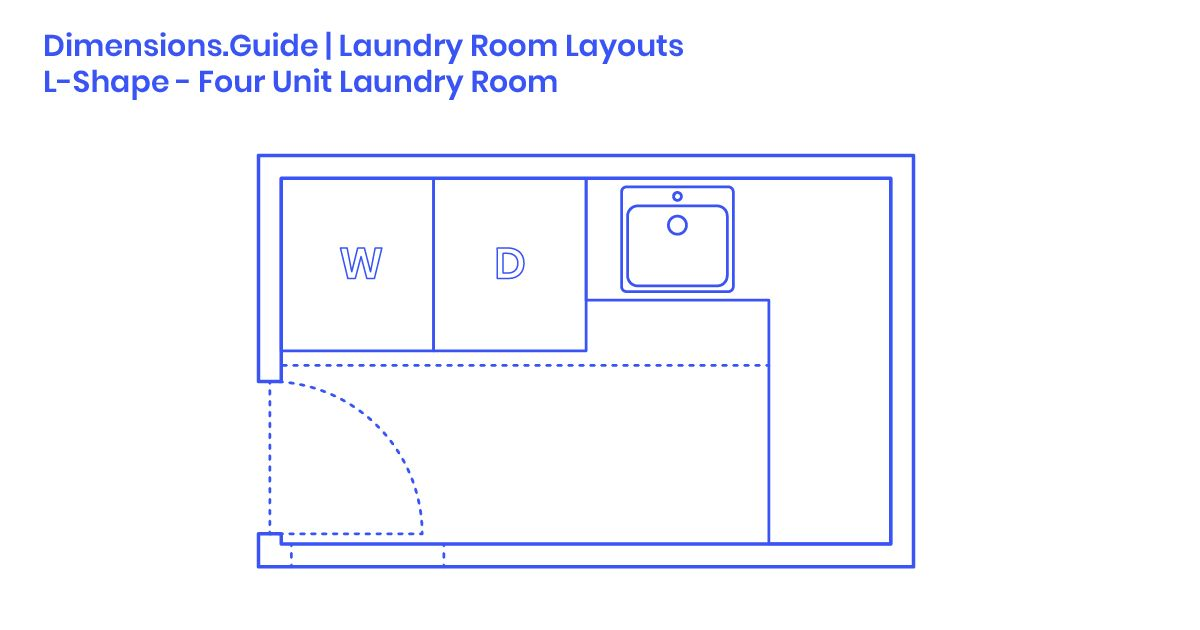 L Shape Four Unit Laundry Room Layout Dimensions Drawings