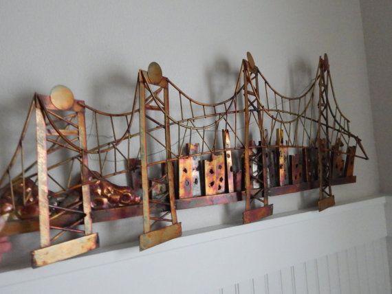 Mid Century Brutalist Curtis Jere Style Golden Gate Bridge
