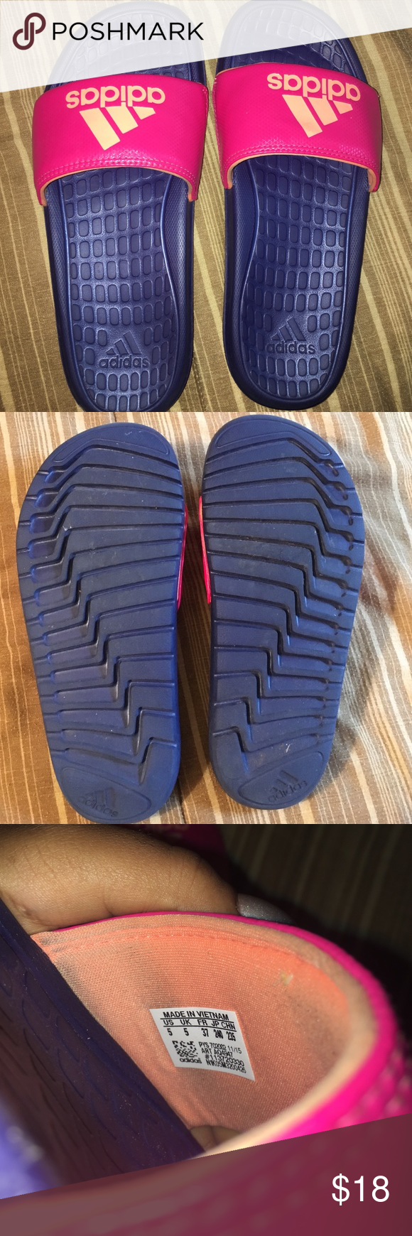 Adidas Slides Good as new .. Only wore 1 time! Adidas Shoes Slippers