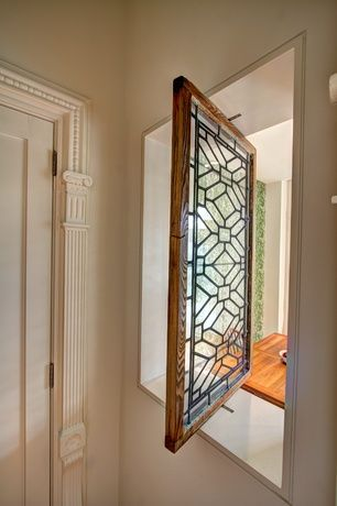 Traditional Entryway with Interior window, Pivot window, Custom stained glass  window, Vertical pivot
