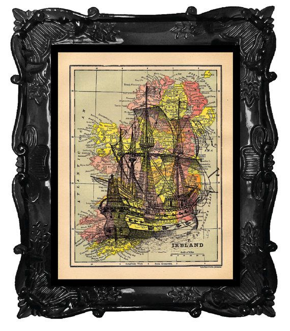 Old ship on antique map of ireland print galleon ship on old world old ship on antique map of ireland print galleon ship on old world maps art print gumiabroncs Image collections