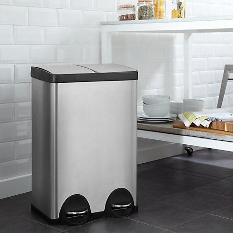 Buy John Lewis 2 Section Recycling Bin, Stainless Steel, From Our Kitchen  Bins Range At John Lewis.